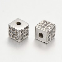 Micro Pave Cubic Zirconia Beads, Platinum Tone, 6mm Cube