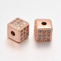 Micro Pave Cubic Zirconia Beads, Rose Gold Tone, 6mm Cube