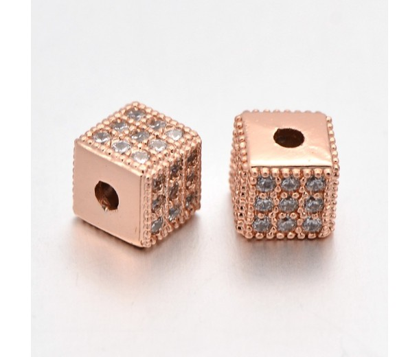 Micro Pave Cubic Zirconia Bead, Rose Gold Tone, 6mm Cube