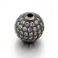 Crystal Gunmetal Cubic Zirconia Beads, 6mm Round