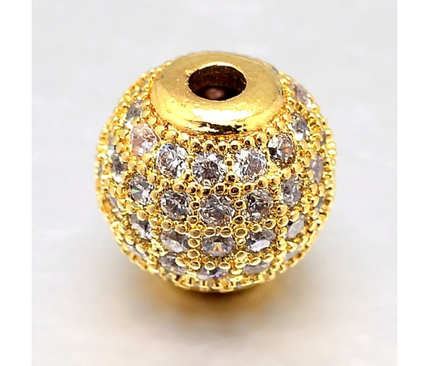 Crystal Gold Tone Cubic Zirconia Beads, 6mm Round