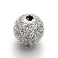 Crystal Platinum Tone Cubic Zirconia Beads, 6mm Round