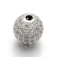 Crystal Platinum Tone Cubic Zirconia Beads, 6mm Round