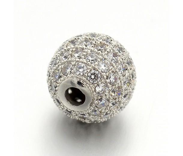 Crystal Platinum Tone Cubic Zirconia Bead, 6mm Round