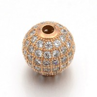 Crystal Rose Gold Cubic Zirconia Beads, 6mm Round