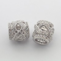 Micro Pave Cubic Zirconia Bead, Platinum Tone, 10mm Ornate Tube