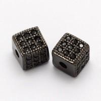 Jet Micro Pave Cubic Zirconia Beads, Gunmetal, 6mm Cube