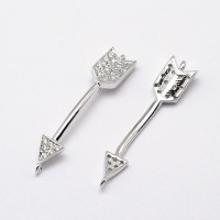 36x7mm Arrow Cubic Zirconia Links, Platinum Tone