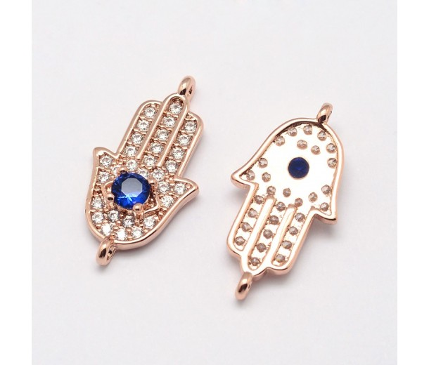 23x12mm Hamsa Hand Cubic Zirconia Link, Rose Gold, 1 Piece