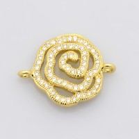 20mm Cutout Flower Cubic Zirconia Link, Gold Tone, 1 Piece