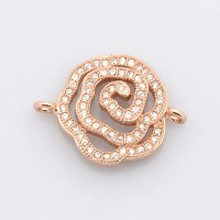 20mm Cutout Flower Cubic Zirconia Links, Rose Gold