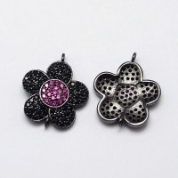 19mm Flower Cubic Zirconia Link, Gunmetal, 1 Piece
