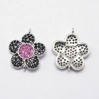 19mm Flower Cubic Zirconia Links, Platinum Tone