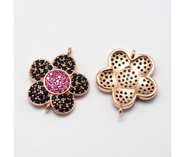 19mm Flower Cubic Zirconia Link, Rose Gold, 1 Piece