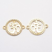 25mm Flat Round Om Cubic Zirconia Link, Gold Tone
