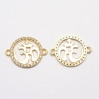 25mm Flat Round Om Cubic Zirconia Links, Gold Tone