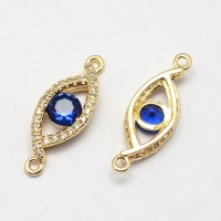 21x7mm Evil Eye Cubic Zirconia Link, Gold Tone, 1 Piece