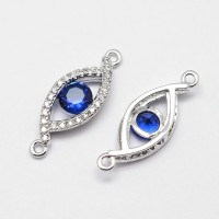 21x7mm Evil Eye Cubic Zirconia Link, Platinum Tone, 1 Piece