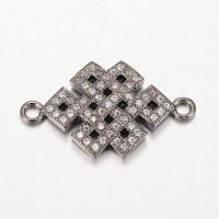 23mm Chinese Knot Cubic Zirconia Links, Gunmetal
