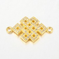 23mm Chinese Knot Cubic Zirconia Links, Gold Tone