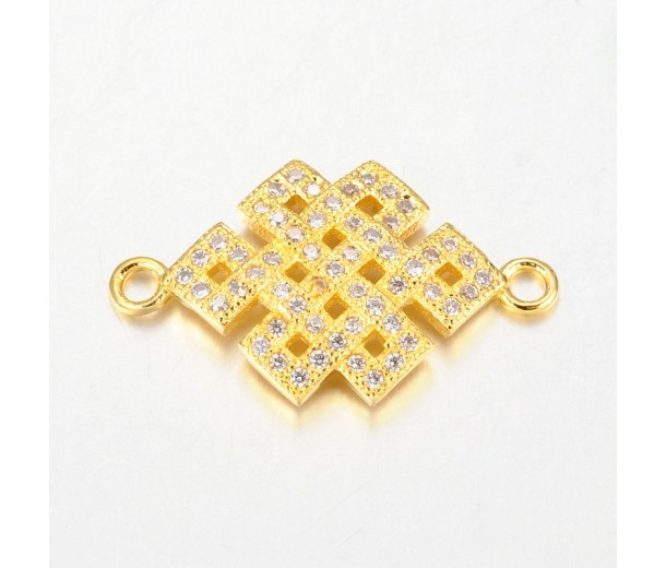 23mm Chinese Knot Cubic Zirconia Link, Gold Tone
