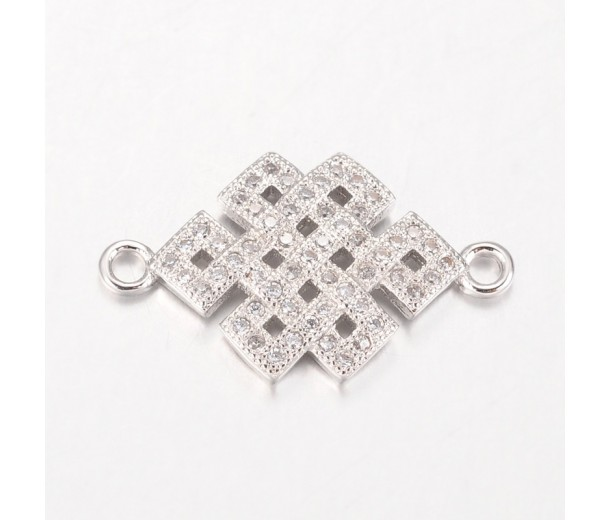23mm Chinese Knot Cubic Zirconia Links, Platinum Tone