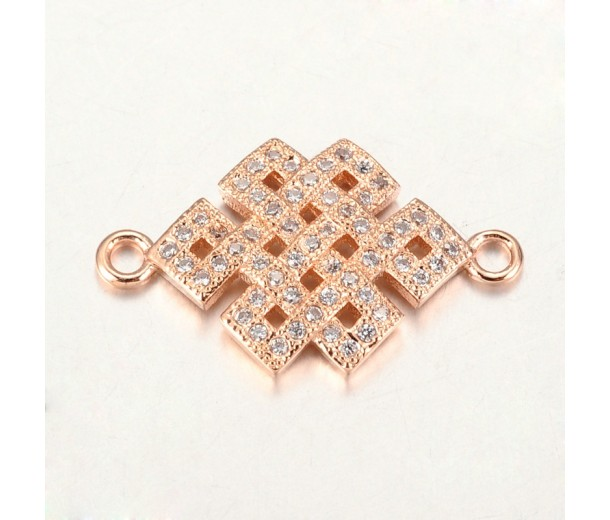 23mm Chinese Knot Cubic Zirconia Link, Rose Gold Tone, 1 Piece