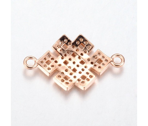 23mm Chinese Knot Cubic Zirconia Links, Rose Gold Tone