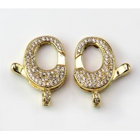 22mm Micro Pave Zirconia Oval Lobster Clasp, Gold Tone