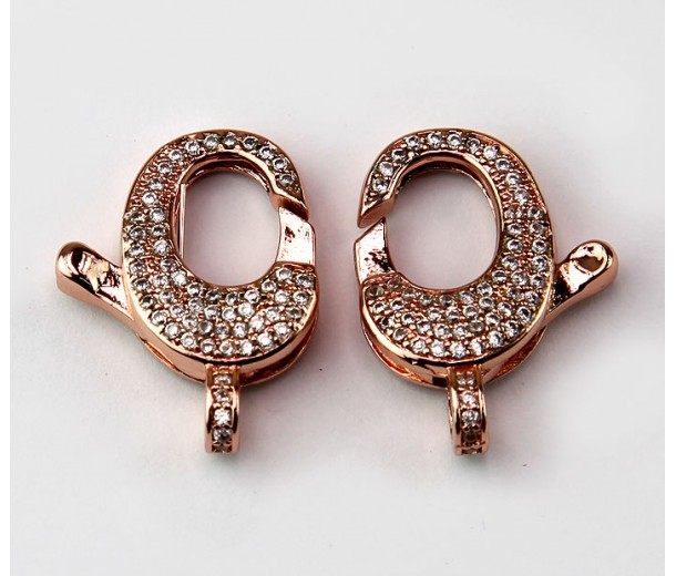 22mm Micro Pave Zirconia Oval Lobster Clasp, Rose Gold Tone