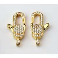 24mm Micro Pave Zirconia Thin Lobster Clasp, Gold Tone