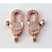 24mm Micro Pave Zirconia Thin Lobster Clasp, Rose Gold Tone