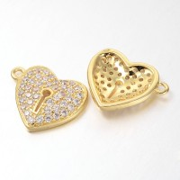 13mm Heart Lock Cubic Zirconia Charm, Gold Tone, 1 Piece