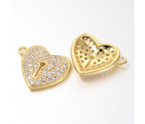 13mm Heart Lock Cubic Zirconia Charms, Gold Tone