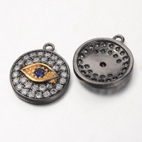 12mm Evil Eye Cubic Zirconia Charm, Gunmetal, 1 Piece