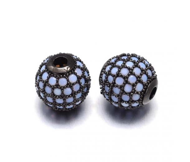 Opaque Blue Opal Black Tone Cubic Zirconia Beads, 8mm Round