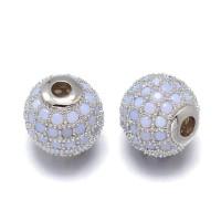 Opaque Blue Opal Platinum Tone Cubic Zirconia Beads, 8mm Round