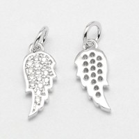 14mm Angel Wing Cubic Zirconia Charm, Platinum Tone, 1 Piece