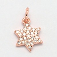 -10mm Hexagram Star Cubic Zirconia Charm, Rose Gold Tone, 1 Piece