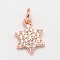 10mm Hexagram Cubic Zirconia Charm, Rose Gold Tone