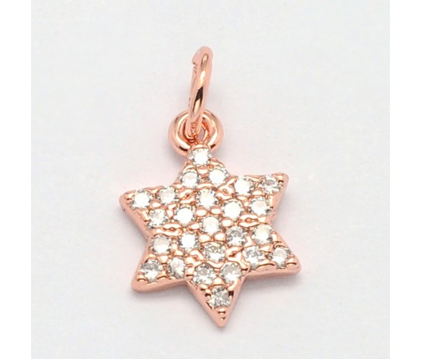 10mm Hexagram Cubic Zirconia Charm, Rose Gold Tone, 1 Piece