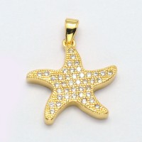 17mm Starfish Cubic Zirconia Charm, Gold Tone