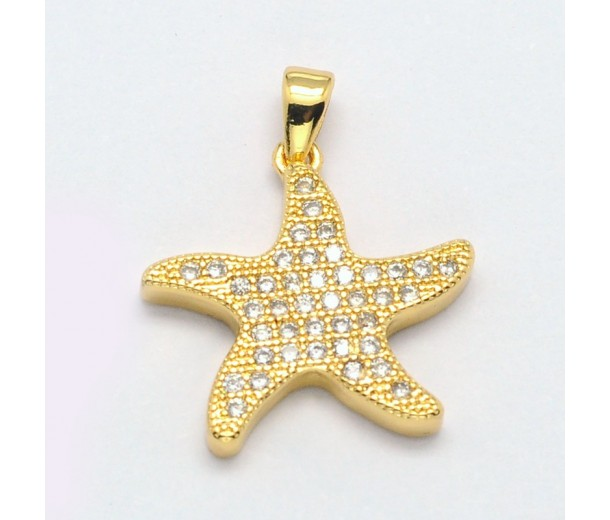 20mm Starfish Cubic Zirconia Charms, Gold Tone
