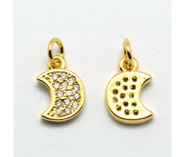 9mm Crescent Moon Cubic Zirconia Charm, Gold Tone