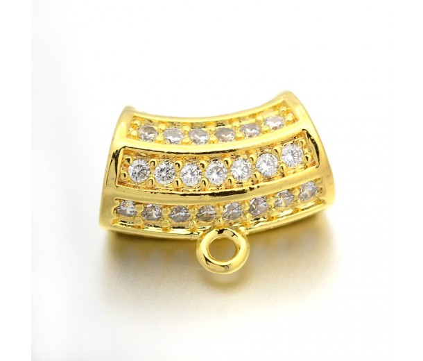13x7mm Cubic Zirconia Curved Column Bail, Gold Tone, 1 Piece