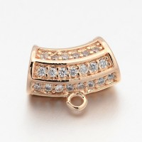 13x7mm Cubic Zirconia Curved Column Bail, Rose Gold Tone