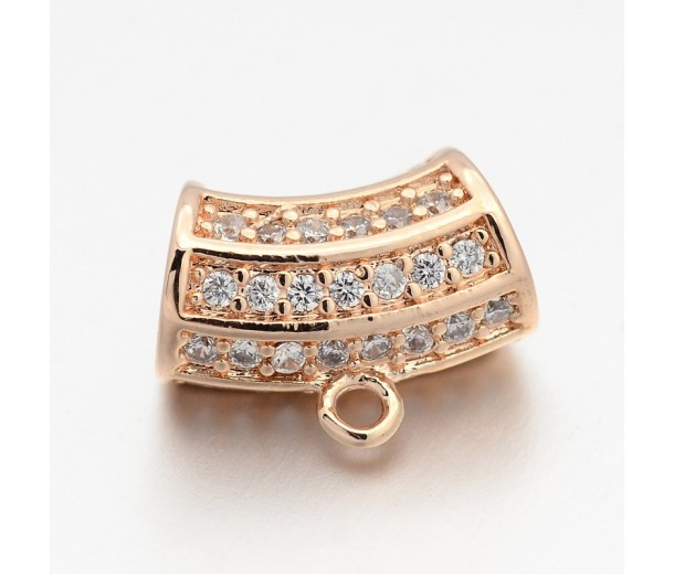 13x7mm Cubic Zirconia Curved Column Bail, Rose Gold Tone, 1 Piece