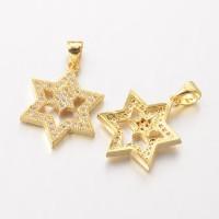 20mm Star of David Cubic Zirconia Pendant, Gold Tone