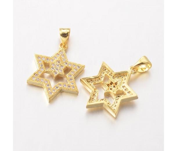 20mm Star of David Cubic Zirconia Pendants, Gold Tone