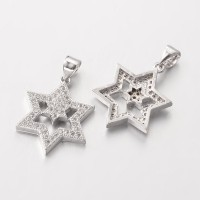 20mm Star of David Cubic Zirconia Pendant, Platinum